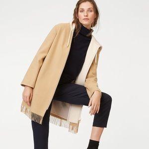 NWT! Club Monaco Hooded Wool Blend Coat Fringe Hem